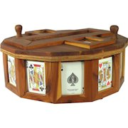 Vintage Folk Art Cedar Wood 12 Sided Picture Sewing Jewelry Game Box Humidor