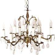 Vintage Victorian Art Nouveau Style 12 Light Brass Candelabra Crystal Chandelier.