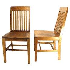 Vintage Van Sciver Mission Lawyer Side Parlor Wood Solid Tiger Oak Office Chairs