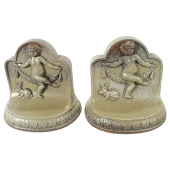 Vintage 1926 Dust Pressed American Encaustic Tile Co.  Shawnee Pottery Co.  Dancing Cherub Bookends.