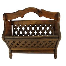 Mid Century Modern Knock on Wood Pine Woven Slat Magazine Lap Top Rack Stand