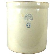 6 Gallon Antique Louisville Pottery Indian Head Fermenting Stoneware Kraut Crock