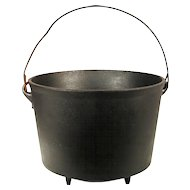 Antique Cast Iron Kettle Cauldron Cowboy Camp Fire Reenactment Hanging Rare Pot