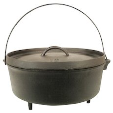 Vintage Cast Iron Spider Camp Fire Footed Dutch Oven Deep Fryer Pan Warmer Lid