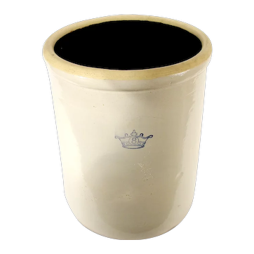 Antique Ransbottom Brothers Pottery Co. 8 Gallon Stoneware Crock  Early Blue Crown