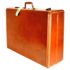 Vintage Samsonite Brass Leather Shwayder Bros Train Airplane Luggage Suitcase