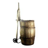 Antique Wood Slat Old Patina Barrel Water Whiskey Wine Keg Dolly Metal Wheels