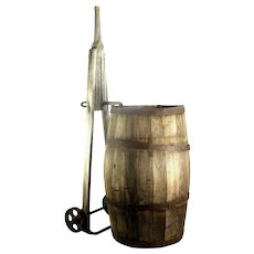 Antique Wood Slat Old Patina Barrel Water Whiskey Wine Keg Dolly Metal Wheels