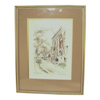 Vintage Signed Illustrator John Hayman Watercolor The Yard Harvard Univ Painting