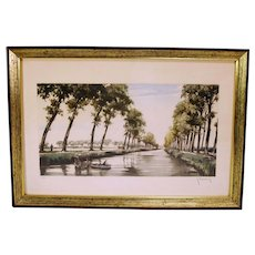 Mid Century Artist G Hibbeling Signed Etching With Aqua Tint Numbered Print In Original Frame.