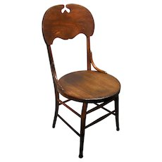 Antique Mission Arts & Crafts Era Bent Wood Solid Oak Side Parlor Dining Chair