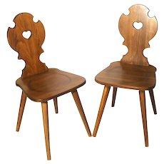 Mid Century Moravian Plank Peasant Bretstuhl Folk Art Style Original Plank Walnut Side Chairs 2
