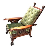 Antique Gargoyle Head Claw Arms Mahogany Morris Recliner Chair.