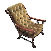 Antique Renaissance Revival Art Claw Foot, Mahogany Wood Parlor Chair.