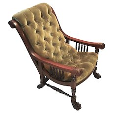 Antique Renaissance Revival Art Claw Foot, Mahogany Wood Parlor Chair.