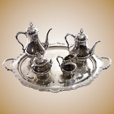 Reed & Barton Silver Original Silver Plate Coffee Tea Set With Sugar, Cream And Serving Tray