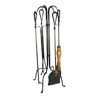 Vintage Wrought Iron Rustic Ranch Style Fireplace Tools.