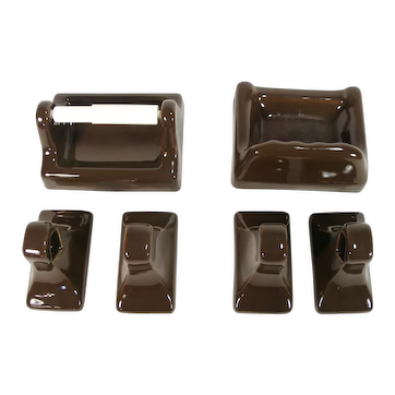 New In Box Vintage Chocolate Brown Porcelain 6 Piece Complete Bathroom Set
