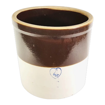 Vintage 4 Gal Cobalt Blue Heart Stoneware 2 Tone Fermenting Crock Pottery