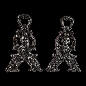 Antique Victorian Nouveau Figural Quaker Dutch Skeleton Key Top Andirons Fire Dogs