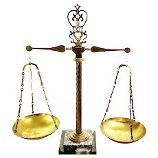 Brass Vintage Arts & Crafts Balance Beam Scale On Marble Base.