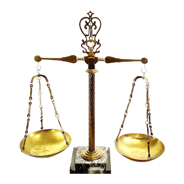 Brass Vintage Arts & Crafts Balance Beam Scale On Marble Base.