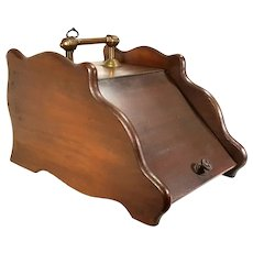 Antique Art Crafts Walnut Wood Coal Ash Fireplace Fire Scuttle Box