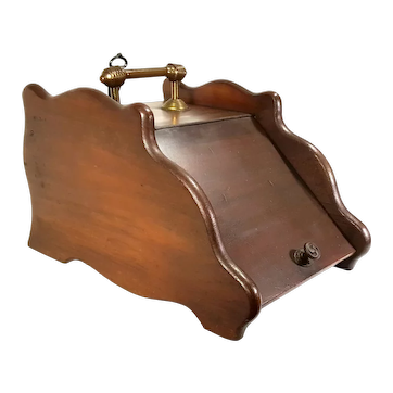 Antique Art Crafts Walnut Wood Coal Ash Fireplace Fire Scuttle Box