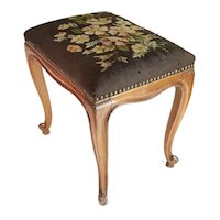 French Louis XV Style Floral Needlepoint Tapestry Walnut Foot Vanity Stool