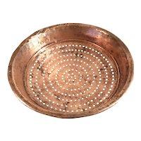 Antique Arts & Crafts Primitive Hand Forged Copper Colander Strainer Bowl