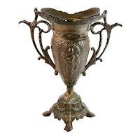 Grecian Goddess Water Nymph Antique Double Handled Brass Urn Vase.