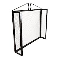 Vintage 3 Panel Metal & Heavy Wire Mesh Mid Century Fireplace Screen
