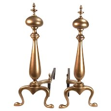 Antique Brass Deco, Neo Classical Acorn Finial Brass Andirons.