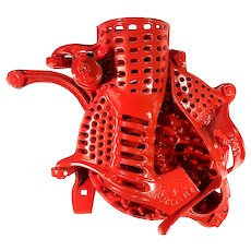 Antique Fire Engine Red Cast Iron A.H. Patch Black Hawk Brand Crank Corn Walnut Sheller
