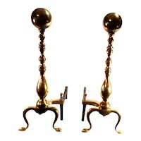 Antique Wayne Co.  Federal Style Large Brass Cannon Ball Top Andirons. Circa - 1900's