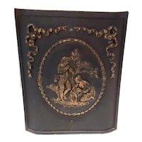 Antique Lavish High Relief Heavy Cast Iron Victorian Art Nouveau Figural Fireplace Door