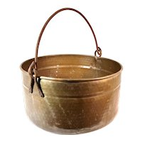 Antique French Provincial Hammered Copper Apple Butter Hanging Pot