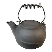 Antique Bird Spout Cast Iron Open Fire Pit Cook Stove Tea Pot With Swivel Lid