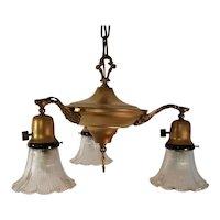 Vintage 3 Bell Dome Lights Art Deco Pan Style Designer Chandelier Hanging Lamp