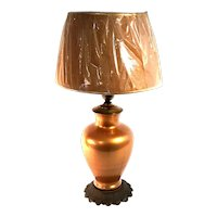 Antique Copper Art Glass Table Lamp With Art Nouveau Swirl Bronze Base.