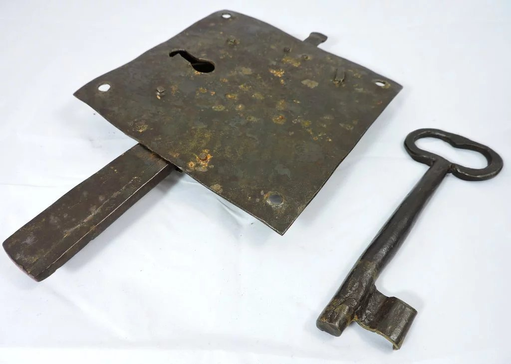 1700s Iron Door Lock Plate And Key The Curious American
