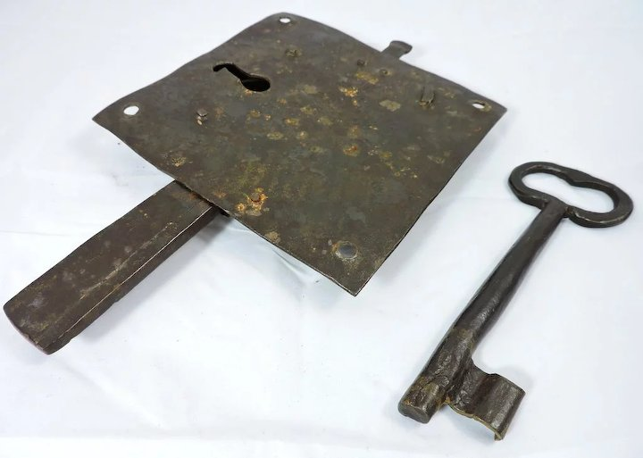 1700s iron door lock plate and key the curious american ruby lane 1700s iron door lock plate and key sciox Image collections