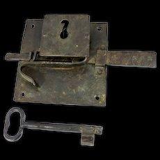 1700s Iron Door Lock Plate and Key