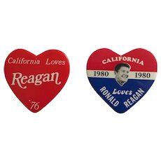 """Authentic """"California Loves Reagan"""" Heart Shaped Political Buttons (Pair)."""