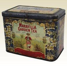Early 1900's 'Maravilla Garden Tea'  Litho Advertising Tin