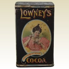 Early 1900's 'Lowney's Cocoa' Paper Labeled Advertising Tin