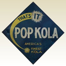 "1940'S, 50'S  Large  Embossed Diagonal ""Pop Kola"" Metal Soda Sign"