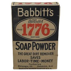 "1910-1940  B.T. Babbitts Unopened Box of  ""1776 Soap Powder"""