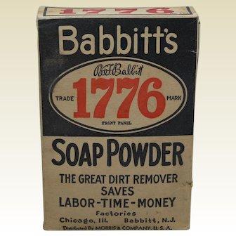 "1910-1940  B.T. Babbitts Unopened Box of  ""1776 Soap Powder"""