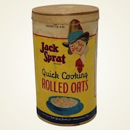 1930's, Early 40's 'Jack Sprat' Rolled Oats Cardboard Advertising Box